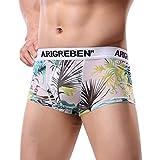 Mens Boxer Briefs Breathable Underwear Raised Print Arigrebren Sexy Four-Corner Shorts (B,M)
