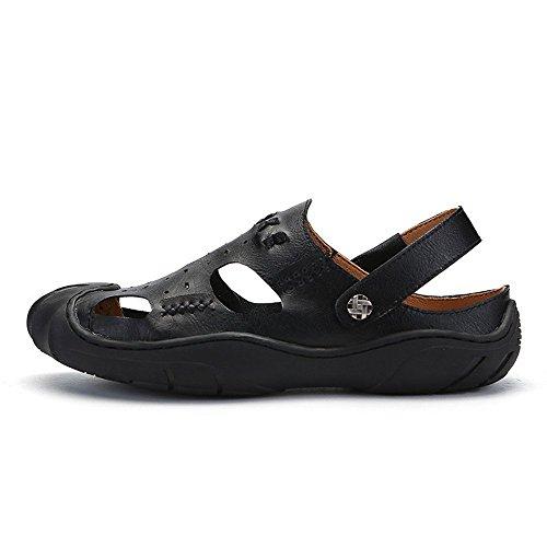 e uomo regolabili la al per in Gray Sandali spiaggia 2 sandali Size da libero sandali adatti 42 traspiranti all'aperto per 3 EU Black antiscivolo coperto Color tempo pelle il 5qnWHnv0