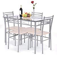 Giantex 5 Piece Dining Set Table and 4 Chairs Glass Top...