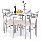 Giantex 5 Piece Dining Set Table and 4 Chairs Glass Top Kitchen Breakfast Furniture For Sale
