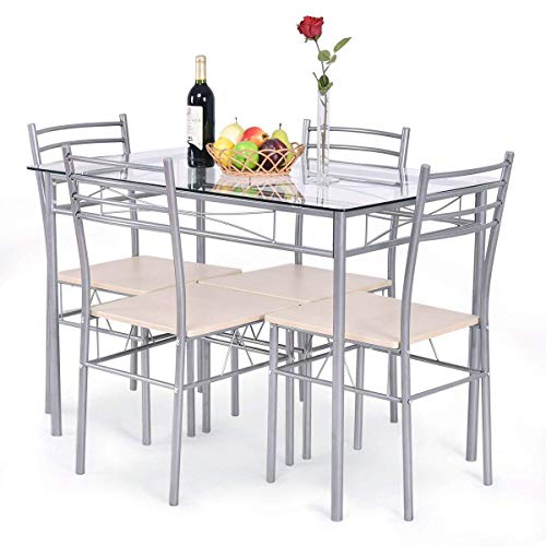 Breakfast Table Furniture - Giantex 5 Piece Dining Set Table and 4 Chairs Glass Top Kitchen Breakfast Furniture
