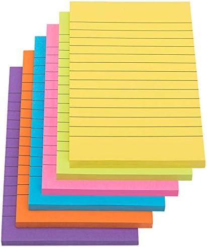 Stick Notes 6 Pack 300 Sheet Sticky Note Pad Verschillende Kleur Gevoerd Zelf Stick Memo Pads voor Kantoor School en Thuisgebruik