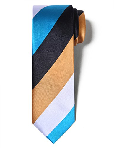 Origin Ties Men's Fashion 100% Silk Handmade Colorful Awning Retro Party 3 Skinny Tie Ginger Yellow