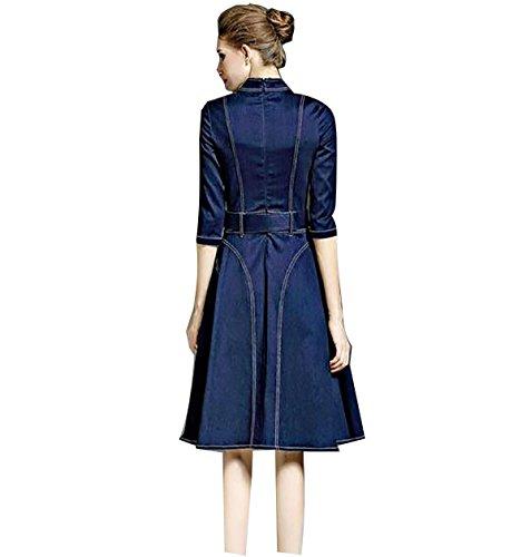 2017 nuevo temperamento falda vaquera de manera simple vestido grande del oscilación deep blue