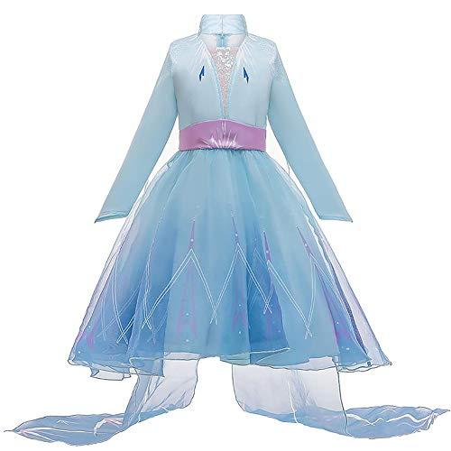 IDOPIP Elsa Frozen 2 Kostuum Prinses Fancy Dress Sneeuwkoningin Party Cosplay Halloween Jurk + Broek + Jas + Accessoires…