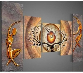 Unixtyle Modern Canvas Art Orange Trees Dancing Abstract Oil Painting Set