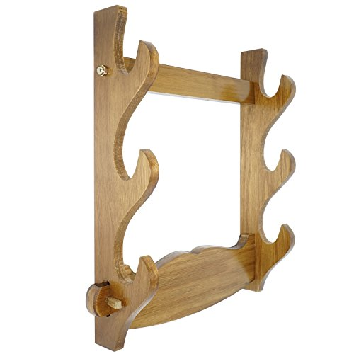 Sword Rack Solid Wood Wall Mount Samurai Sword Holder Katana Wakizashi Display Stand Bracket Hanger 3 Layer ()