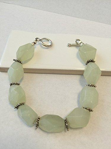 Lime Topaz Stone - Natural 40ct Lemon Topaz 925 Solid Sterling Silver Antique Bracelet 8 1/2