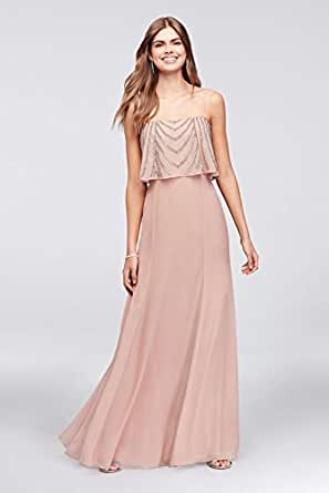 David's Bridal Chiffon Prom Gown With Drapey Sequined Bodice Style 264364, Blush, 10