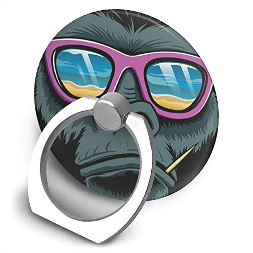 Round Finger Ring Stand Phone Holder Grip Sunglasses Monkey 360°Rotation Kickstand for Smartphones and IPad ()
