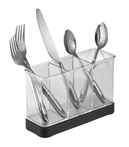mDesign Utensil, Spatula, Silverware Holder for Kitchen Countertop Storage - Matte Black/Clear