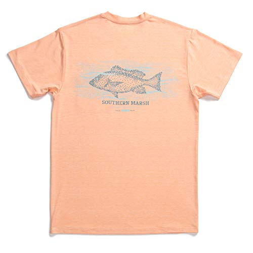 Campus Short Sleeve T-shirt - Southern Marsh Snapper Heather FieldTec Performance Short Sleeve T-Shirt -Peach-XX-Large