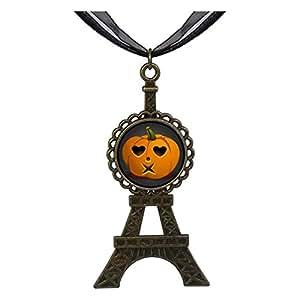 Chicforest Bronze Retro Style Halloween Jack O lantern Eiffel Pendant