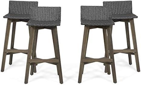 Great Deal Furniture Jessie Outdoor Wood Wicker Barstools Set of 4