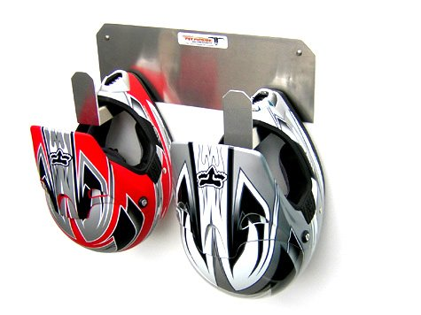 Pit Posse PP125 Dual Helmet Rack Holder Aluminum Enclosed Race Trailer Shop Garage Storage Organizer (Trailer Rack Enclosed)