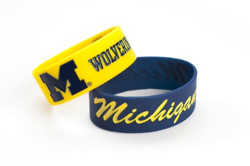NCAA Michigan Wolverines Silicone Rubber Bracelet, 2-Pack - 2 Pack Team Wristband