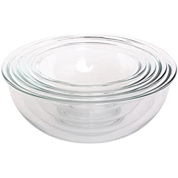 Amazon.com: Pyrex Prepware 3-Piece Glass Mixing Bowl Set: Kitchen ...