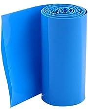 uxcell Battery Wrap PVC Heat Shrink Tubing 70mm Flat Width for 18650 Power Supplies 5m Long Blue