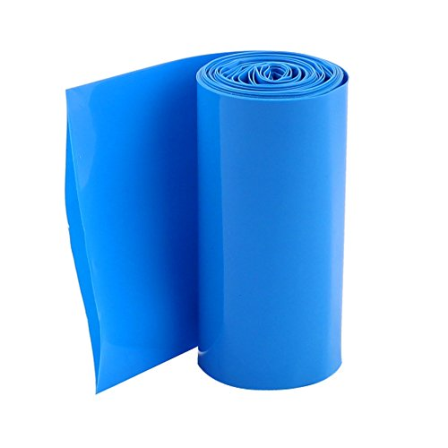 Uxcell PVC Heat Shrink Wrap for 4×18650 Battery Pack, 2 m, 70 mm Width, Blue