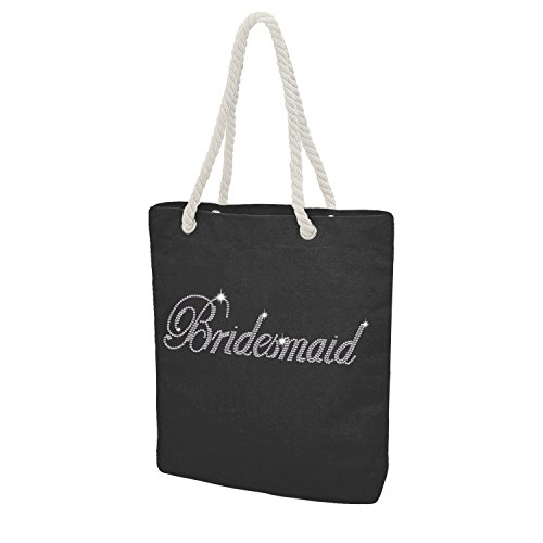Custom Tote Bag Crystal Cotton Bags Rhinestone Bridal Shower Bachelorette Party Gift (Black - Bridesmaid)]()