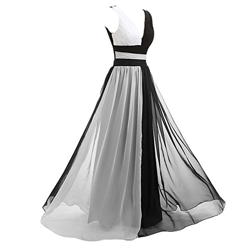 Kivary V Neck Long Black and White Chiffon Pleats Simple ...
