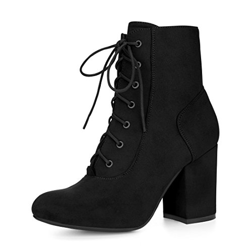 Allegra K Women's Rounded Toe Chunky High Heel Lace Up Booties (Size US 7) Black