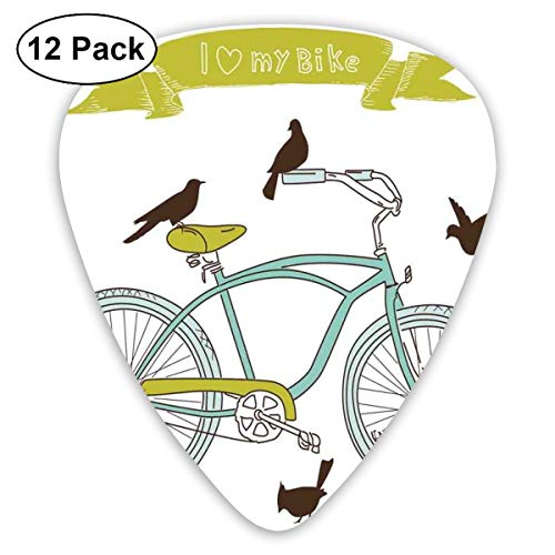 (Guitar Picks 12-Pack,I Love My Bike Concept With Birds On The Seat Cruisers Basic Vehicle Simplistic Art)