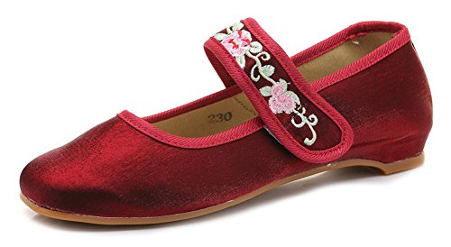 Flats Ballerina Jane Womens Casual AvaCostume Mary Ballet Wine Red HIaYaqt
