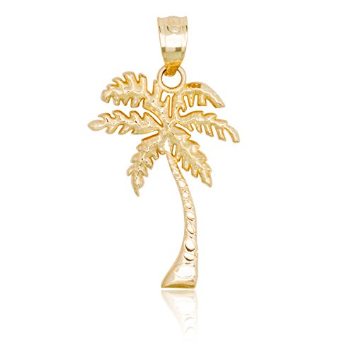 - Honolulu Jewelry Company 14k Yellow Gold Palm Tree Necklace Pendant