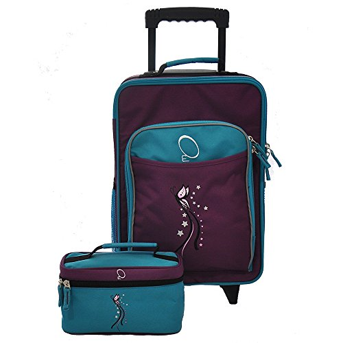 Girls Purple Pretty Butterfly Carry On Suitcase Blue Trim Star Themed Luggage by DH