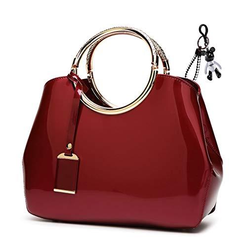 DEERWORD Women's Hobos Shoulder Bags Totes Satchels Top-Handle Handbags PU Leather Convertible Burgundy