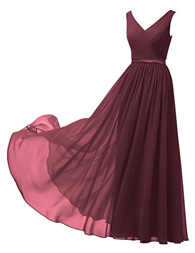 Alicepub V-Neck Chiffon Bridesmaid Dress Long Party Prom Evening Dress Sleeveless, Burgundy, US14