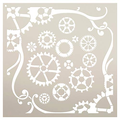 "Gears & Swirls Stencil by StudioR12 | Reusable Mylar Template | Use to Paint Wood Signs - Pallets - Pillows - DIY Steampunk Decor - Select Size (15"" x 15"")"