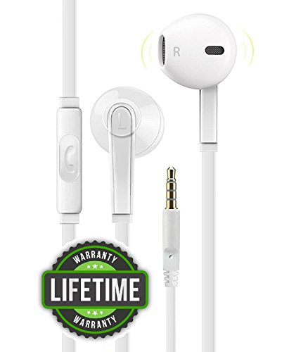 Headphones with Microphone, Certified PowerBoost Stereo Flat Wired 3.5mm In-Ear Earphones Control Crystal Sound Earbuds for iPhone iPad iPod Laptop Tablet Android LG HTC Smartphones (White)