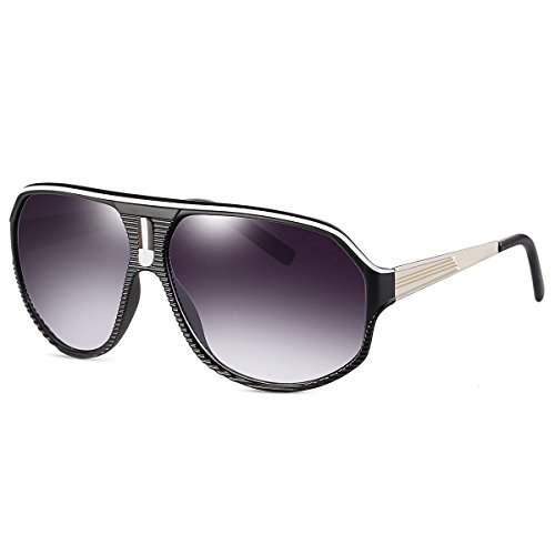 YAKELI Plastic Racer Aviator Sunglasses Men's Women's Flat Top Frame Glasses