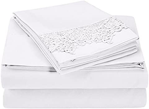 Regal Lace Embroidery Microfiber Sheet Set, Gift Box, Queen, White - Embroidery Box Set