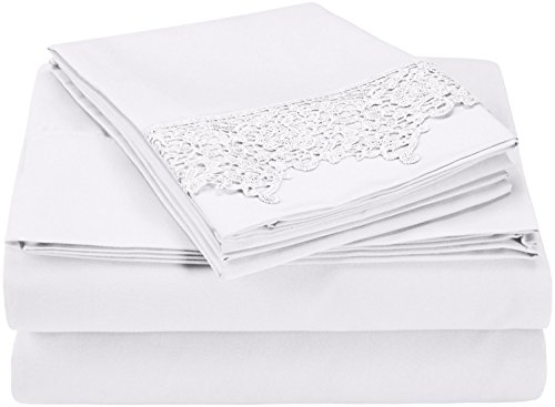 Super Soft Light Weight, 100% Brushed Microfiber, Twin, Wrinkle Resistant, White 3-Piece Sheet Set with Regal Lace Pillowcases in Gift (3 Piece Lace Trim)