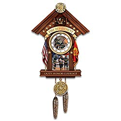 The Bradford Exchange Glen Green Firefighter Commitment to Courage Mahogany-Toned Cuckoo Clock