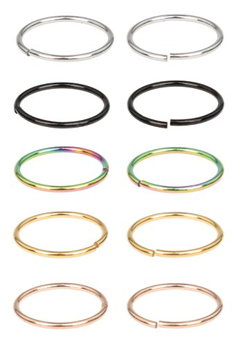 Ring Piercing (SkullParty 5 pairs Nose Rings Hoop 20 Gauge Non Piercing Stainless Steel Clip-on Fake Nose Ring Body Jewelry - 1/4
