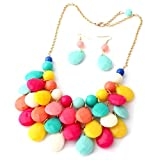 Floral Fall Teardrop Layered Bubble Statement Necklace and Earring Set (Mix Color)