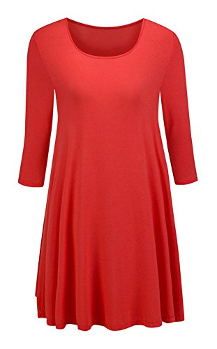 Taydey Womens 3 4 Sleeve Round Neck Tunic Tops – Small, Red