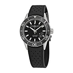 Stainless steel case with a black perforated rubber strap. Uni-directional rotating stainless steel bezel with a black ceramic top ring. Black dial with luminous silver-tone hands and index hour markers. Minute markers around the outer rim. D...
