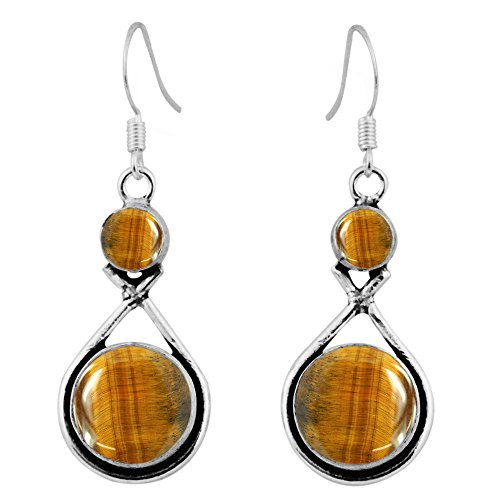 925 Silver Tiger (15.00ctw, Genuine Tiger Eye & 925 Silver Plated Dangle Earrings Made By Sterling Silver Jewelry)