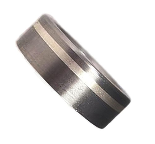 Men's Brushed Titanium with Sterling Silver Inlay 7mm Comfort-Fit Band, Size 4 by The Men's Jewelry Store