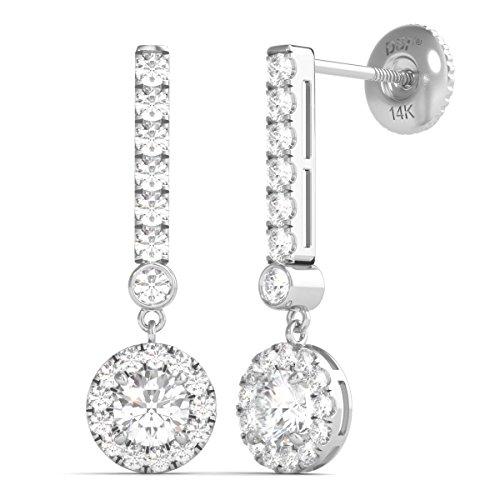 r 14K Gold Diamond Dangle Halo Earrings Screw Back (3/4 Ctw, IGI USA Cert GH/I1) ()