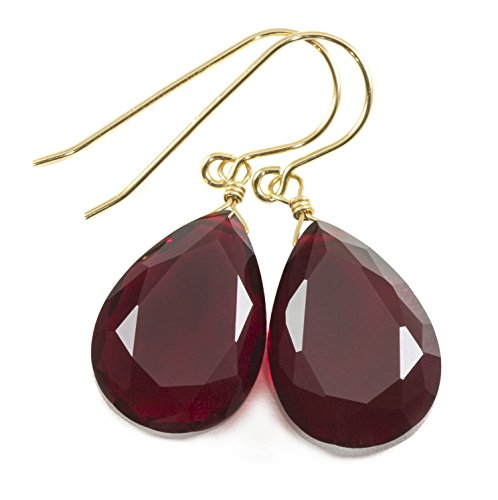 14k Yellow Gold Filled Simulated Ruby Earrings Deep Red Faceted Teardrops Simple Casual Drops 1.4