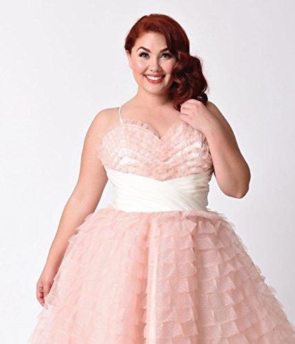 Unique Vintage Plus Size 1950s Peach Pink Sweetheart Cupcake Swing Dress