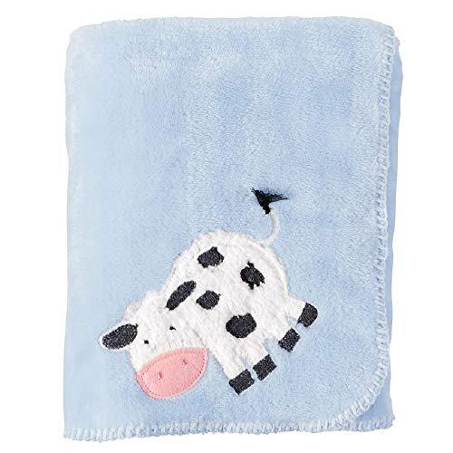 Mud Pie Cow Fleece Blanket, Blue