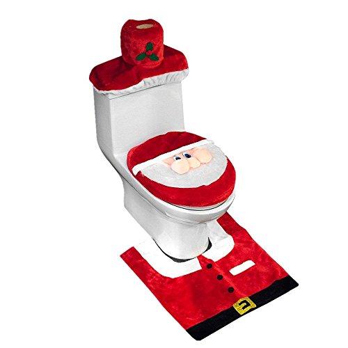 D-FantiX 3D Nose Santa Toilet Seat Cover Set Red Christmas Decorations Bathroom Set of 3