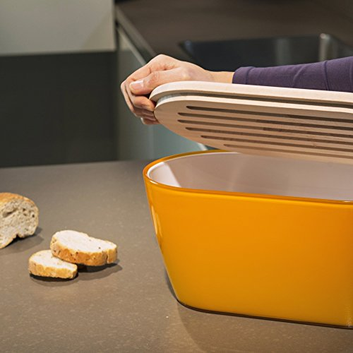 Omada Woody Bread Bin with Cover/Chopping Board, Tangerine